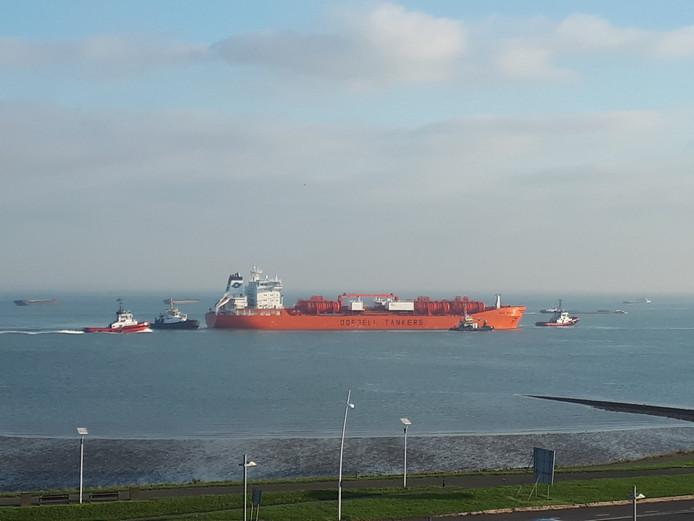 Het schip wordt naar Antwerpen gebracht