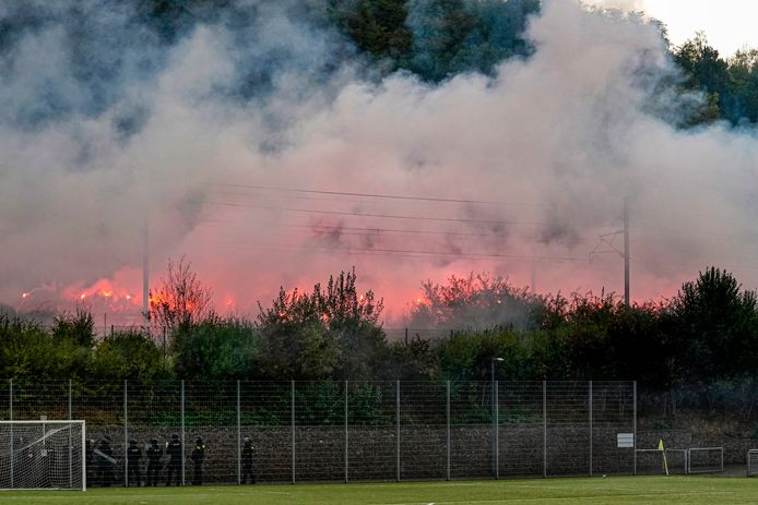 Supporters of Willem II in Luxembourg with fireworks, supporter, supporters, luxemburg, luxembourg during Progres Niederkorn - Willem II NETHERLANDS ONLY COPYRIGHT SOCCRATES/BSR