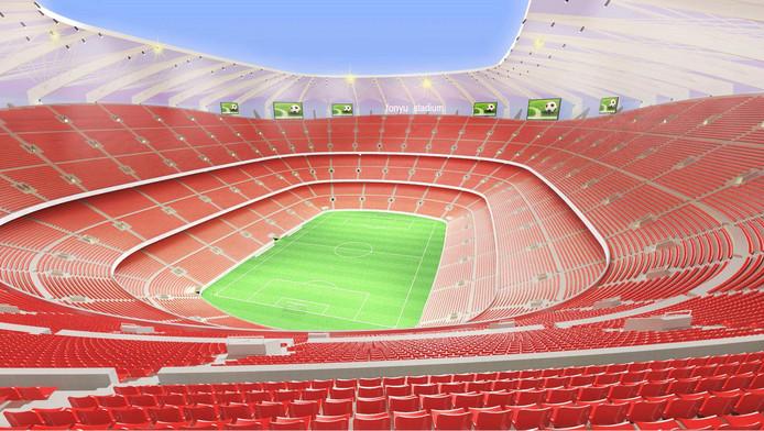 Het interieur van een gloednieuw stadion voor Feyenoord, ontworpen door Fonyu Studio.