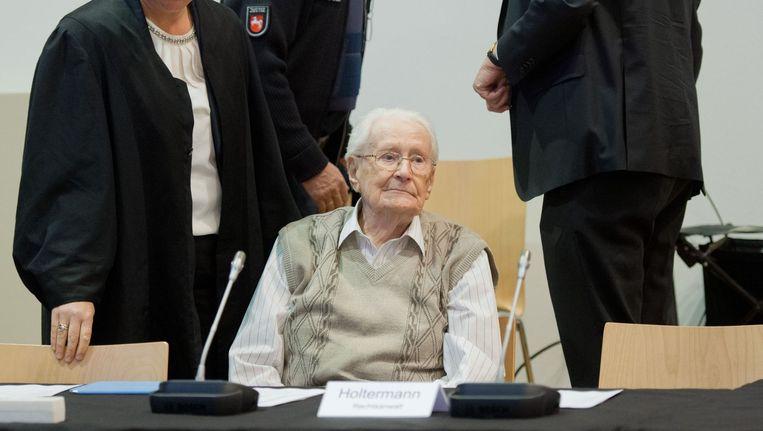 Oskar Gröning in de rechtszaal. Beeld afp