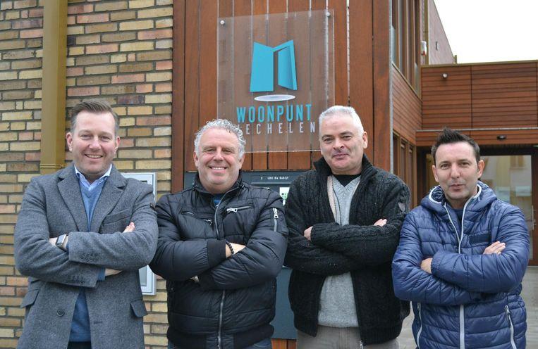 V.l.n.r. voorzitter Alexander Vandersmissen en de nieuwe wijkmeesters Luc, Gabriel en Jorg.