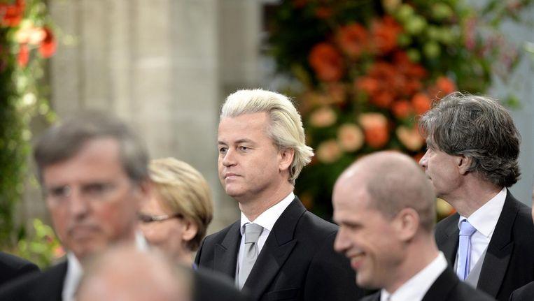 Wilders in De Nieuwe Kerk voorafgaand aan de inhuldiging van koning Willem-Alexander. Beeld anp