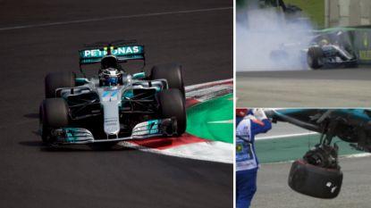 Bottas pakt de pole in Brazilië, Hamilton belandt al snel op bizarre wijze in de boarding en start helemaal achteraan
