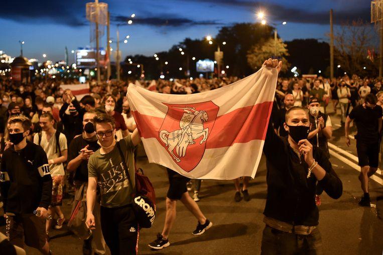 Demonstranten van de oppositie in Minsk.