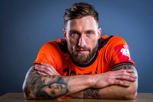 Fabian van Olphen (38) van de Nederlandse handbalmannen.