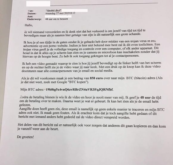 Deze e-mail is nogal agressief maar de politie waarschuwt dat het om oplichting gaat.