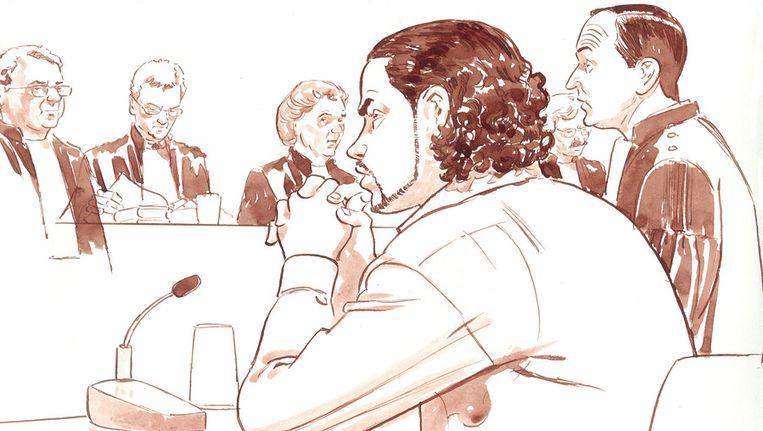 Rechtbanktekening met oud-taxichauffeur Sidi Mohamed B. (2de van rechts) © ANP Beeld