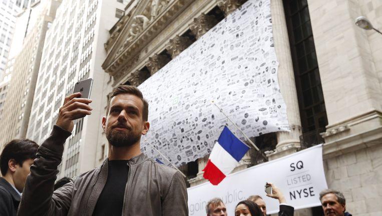 Twitter-baas Jack Dorsey op Wall Street. Beeld reuters