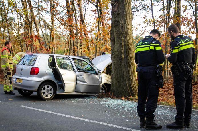 De bestuurder en de bijrijder van de auto raakten gewond door de botsing tegen een boom.