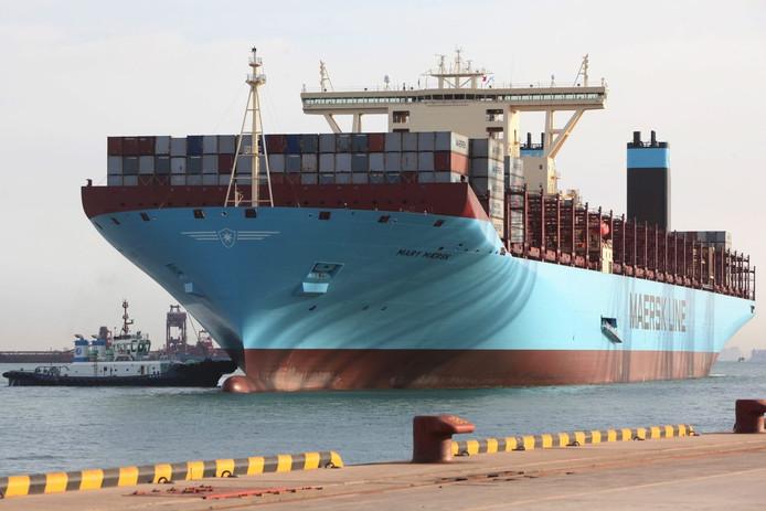 Het grootste containerschip ter wereld, de Mary Maersk.