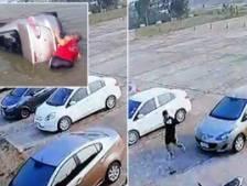 Il oublie de serrer le frein à main, sa voiture finit dans un étang