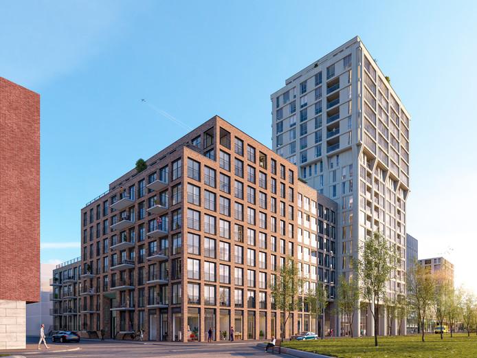 Woontoren Frits, onderdeel van S-West-project op Strijp-S aan de Torenallee, naast school SintLucas (rechts op de illustratie nog net te zien). Op de voorgrond blok Frederik (91 huurwoningen) dat tegelijkertijd gebouwd gaat worden. Een ontwerp van Jeroen Schipper voor MRP Development en Ten Brinke Cohof.