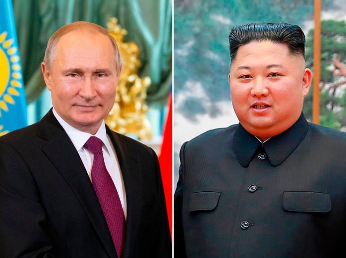 De Russische president Vladimir Poetin (links) en de Noord-Koreaanse leider Kim Jong-un.
