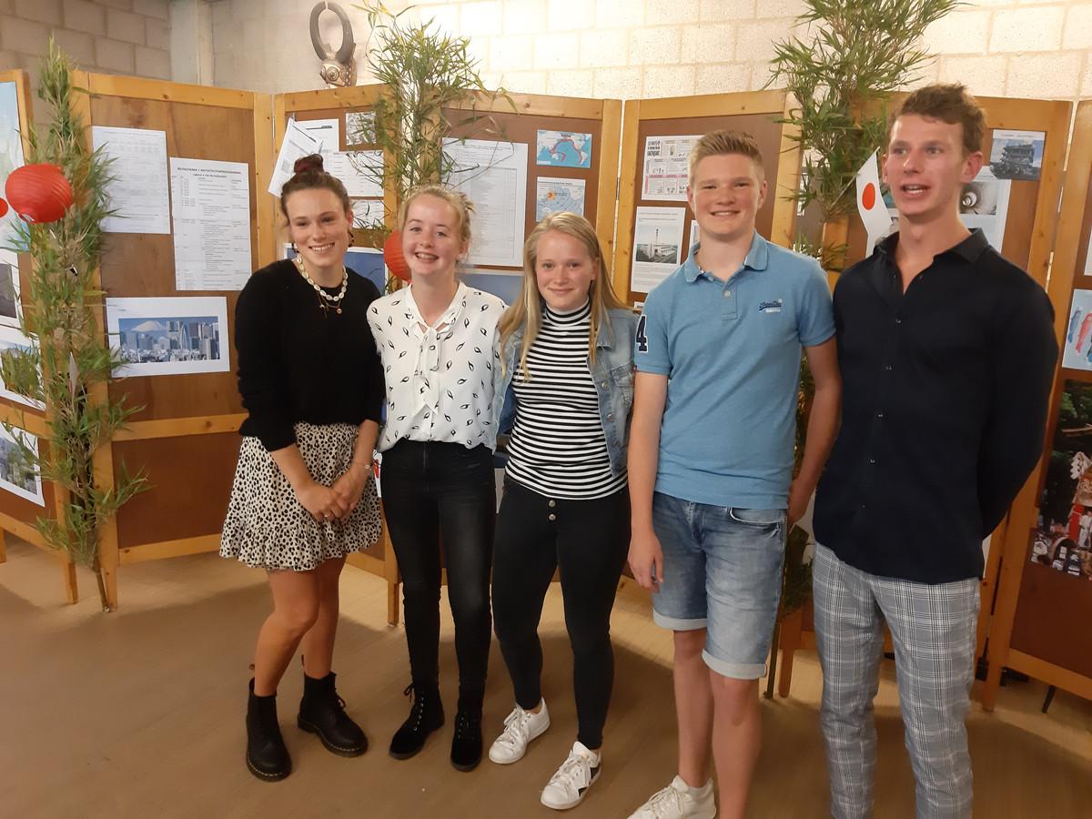 Familie en andere betrokkenen kregen op school alvast een voorproefje van de presentatie van de vijf leerlingen in Japan.