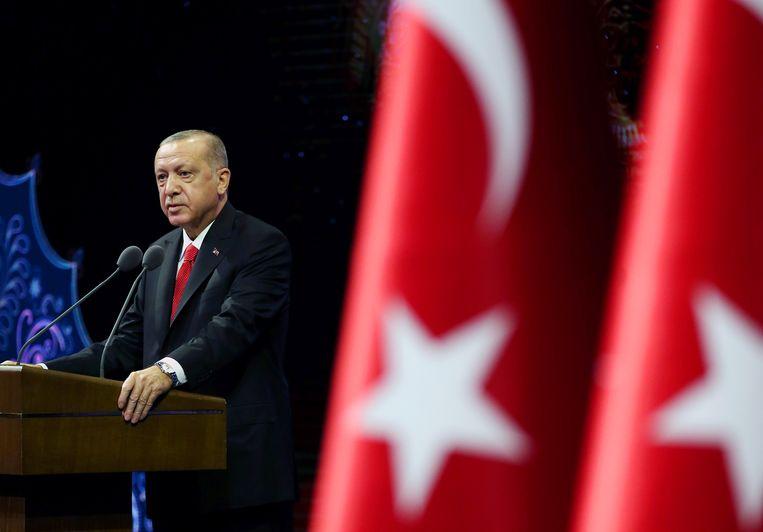 De Turkse president Recep Tayyip Erdogan hield maandag een toespraak in Ankara. Beeld via REUTERS