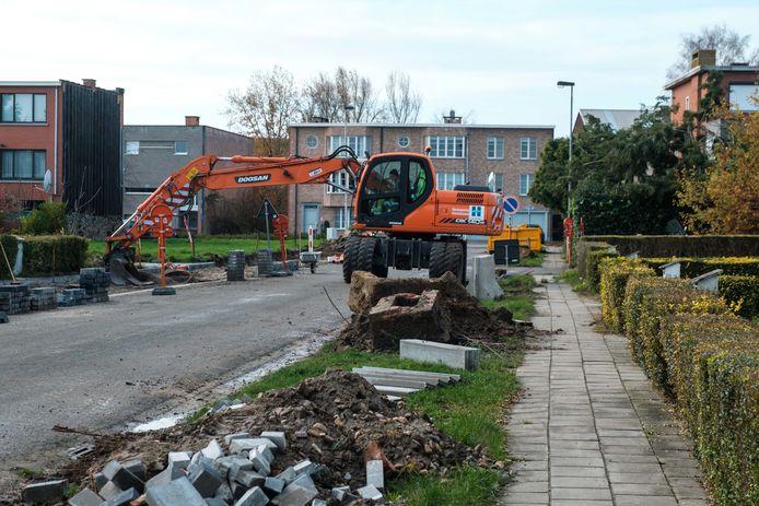Er wordt gewerkt aan de Parklaan in Hemiksem.