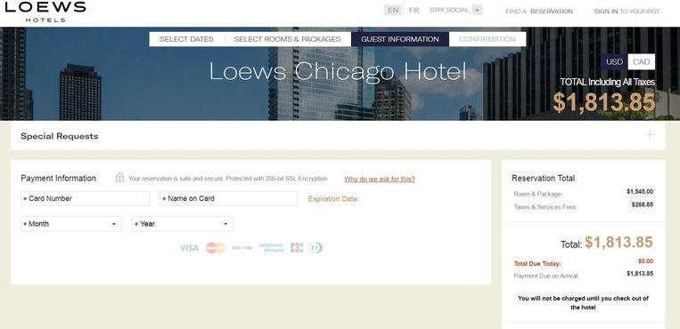 En de nieuwe boeking in het Loews Chicago Hotel.