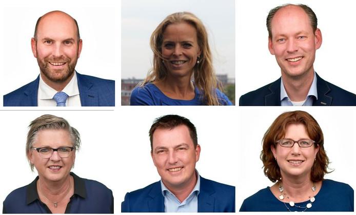 De zes wethouders van Breda. Op de bovenste rij: Boaz Adank (VVD), Greetje Bos (VVD) en Daan Quaars (VVD). Op de onderste rij: Marianne de Bie (D66), Paul de Beer (D66) en Miriam Haagh (PvdA).