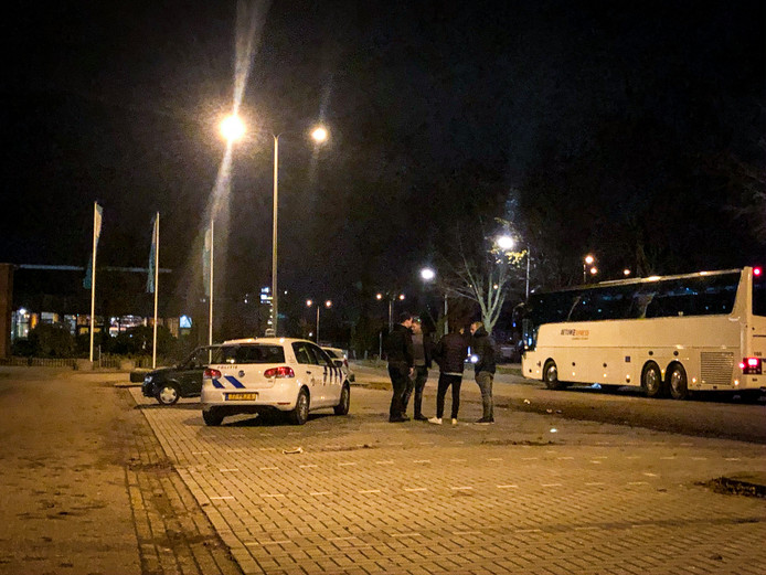 De politie bij het incident