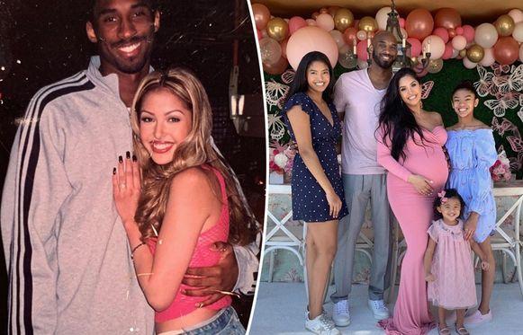 Kobe en Vanessa Bryant, links 20 jaar geleden toen ze elkaar pas leerden kennen, rechts begin vorig jaar toen Vanessa hoogzwanger was van hun jongste dochter Capri Kobe.