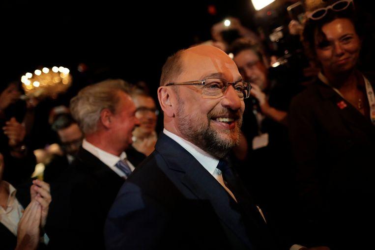 SPD-leider Martin Schulz na afloop van het debat.