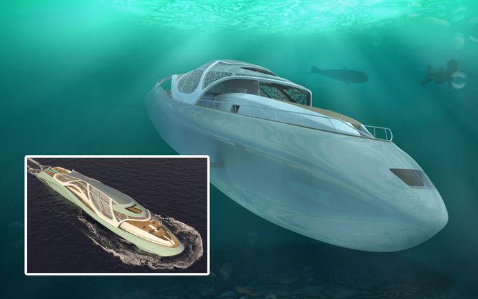 Met dit toekomstig luxejacht kan je naar een diepte van 300 meter onder de zeespiegel duiken.