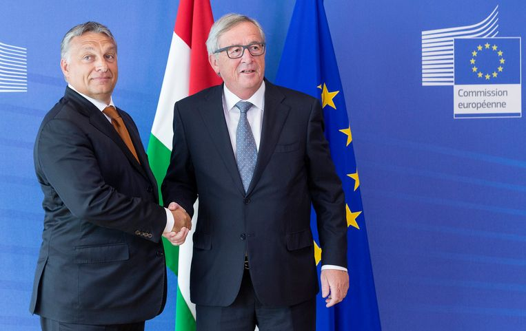 Viktor Orban en Jean-Claude Juncker in 2015.