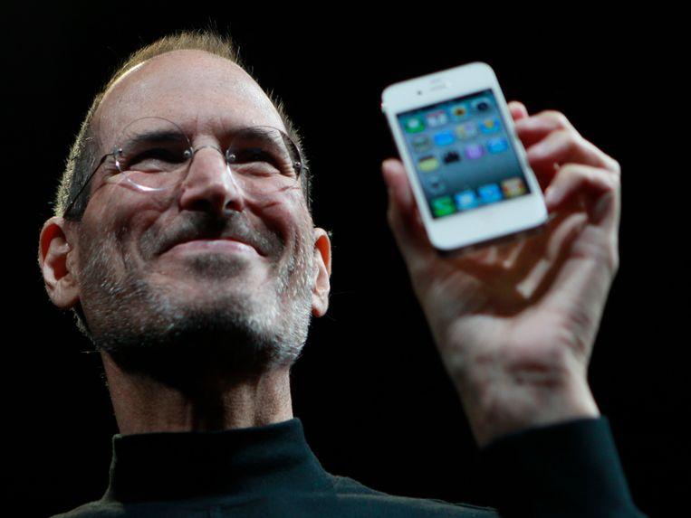 Steve Jobs tijdens de voorstelling van de iPhone 4.