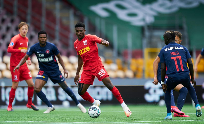Mohammed Kudus scoorde in 57 wedstrijden voor Nordsjælland veertien keer. Beeld FrontzoneSport via Getty Images