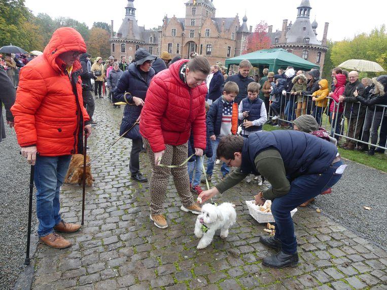 Ook de kleinste hondjes kregen een zegen en een hapje.