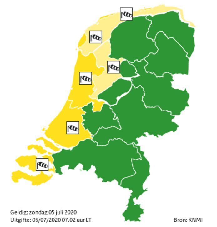Code geel voor de kustgebieden.