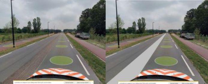 De oude (links) en nieuwe (rechts) berm van de Koolhovenlaan.