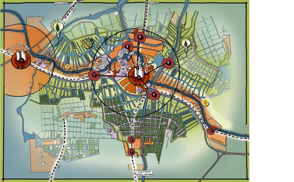 Alphen-stad is in 2040 autoluw, met transferia aan de randen van de stad.