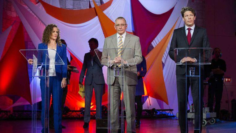 V.l.n.r. Sophie in 't Veld (D66), Dennis de Jong (SP) en Paul Tang (PvdA) in debat in tv-programma EenVandaag. Beeld anp