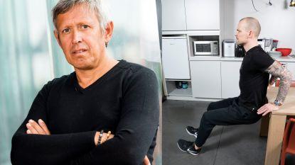 Sportkinesist Lieven Maesschalck geeft oefeningen hoe je thuis zwabberende bovenarmen weer strak maakt