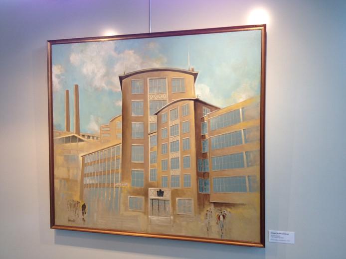Een van de schilderijen in het Heestershuis: het oude gebouw van kousenfabriek Jansen De Wit.