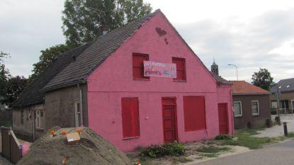 Vrienden verven huis van pasgetrouwd koppel knalroze