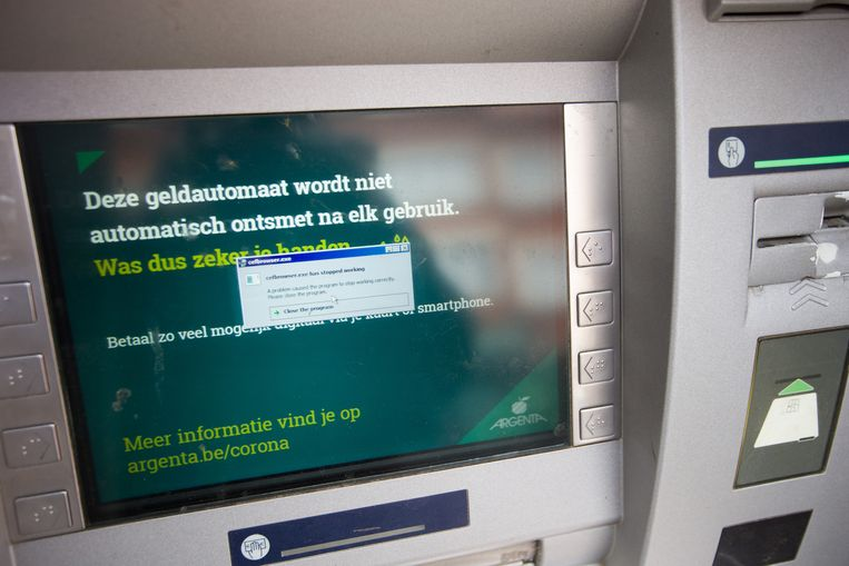 Eén van de uitgeschakelde geldautomaten van Argenta.
