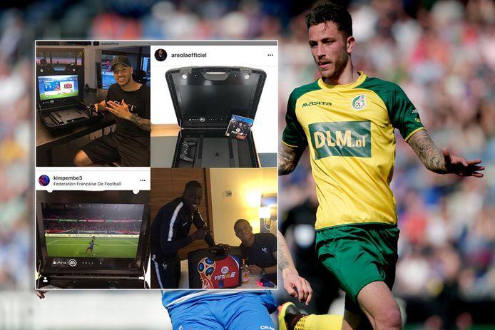 Kai Heerings. Inzet: bekende voetballers met hun 'FIFA-koffertje'.