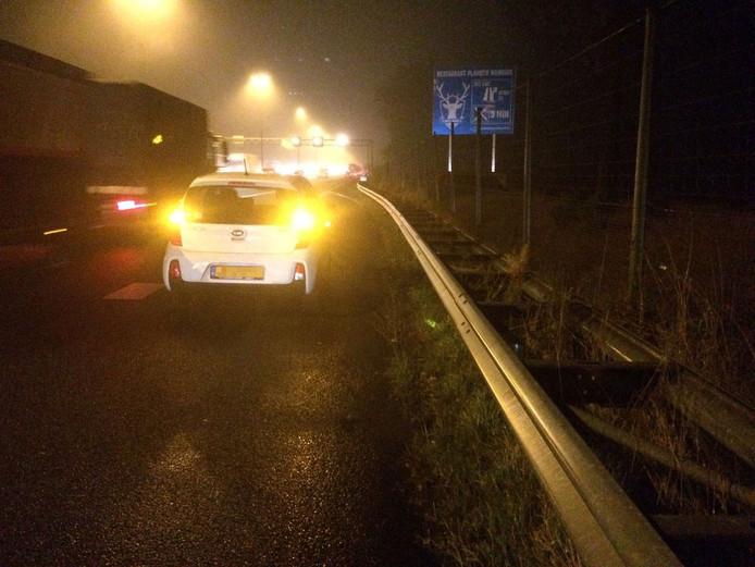 De Kia Picanto werd achtergelaten op de A50 ter hoogte van Groenendaal