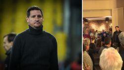 Pijnlijk: De Boeck ontslagen bij Lokeren, nadat hij eerder vandaag nog speech gaf op boekvoorstelling van voorzitter