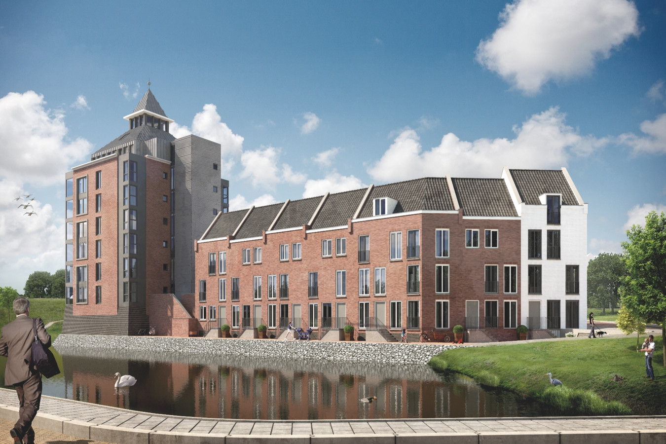 Impressie van het plan Kruittoren met de 36 meter hoge woontoren en de kadewoningen.