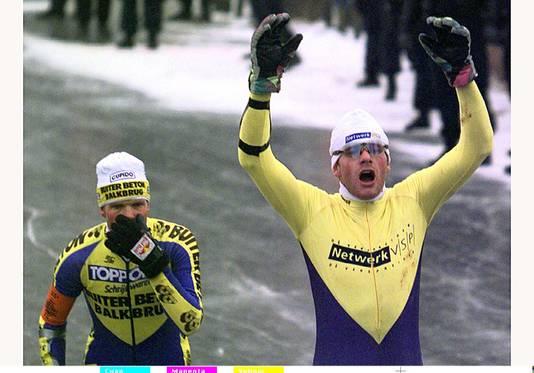 Links Erik Hulzebosch, toen hij tweede werd in 1997