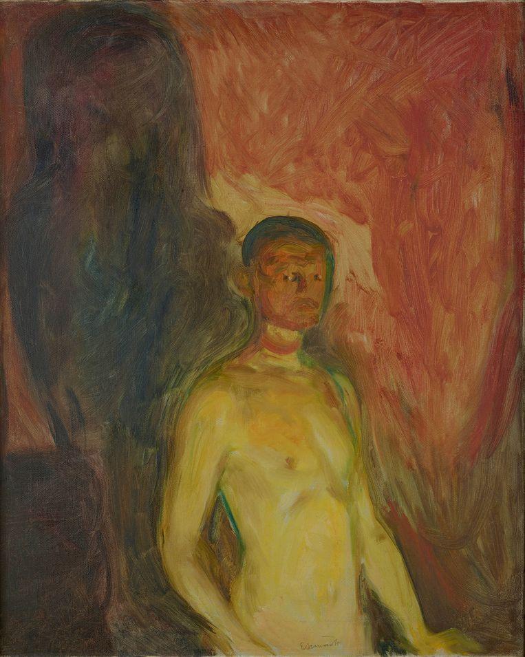 Zelfportret in hel, 1903, Edvard Munch. Beeld Van Gogh Museum