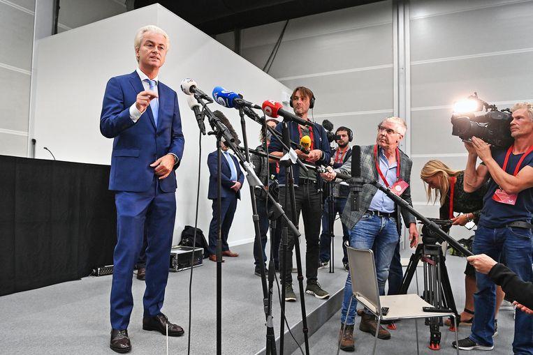 Geert Wilders geeft persconferentie na uitspraak. Beeld Guus Dubbelman / de Volkskrant