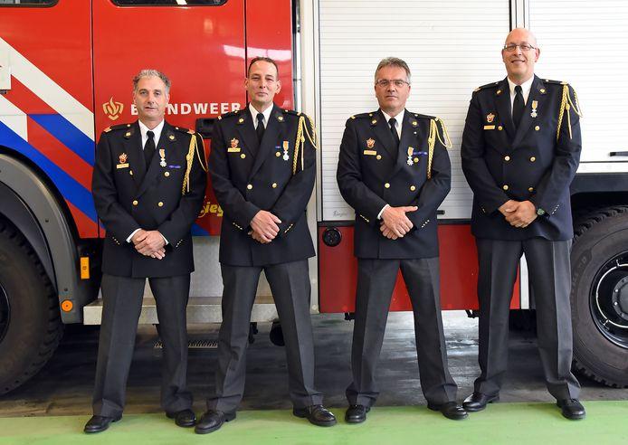 De gedecoreerden (vlnr) Johan le Feber, Arian Hilbrink, Rico Endhoven en Jan-Kees Hamelink.