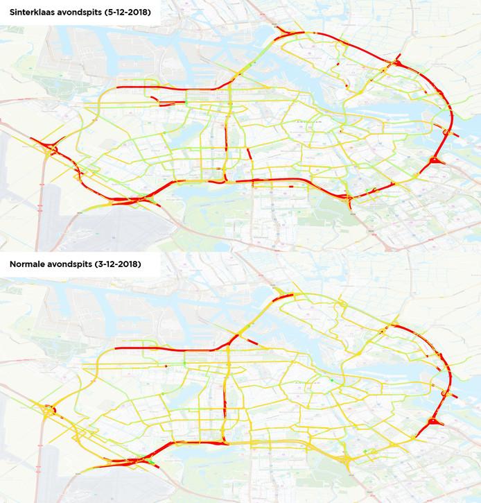 De situatie rond Amsterdam vorig jaar op pakjesavond en daaronder de situatie op een normale dag.