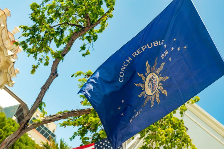 De vlag van de Conch-republiek.