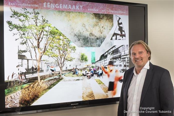 Projectontwikkelaar Jacky Scherens voor een impressie van de Kop van de Boulevard.