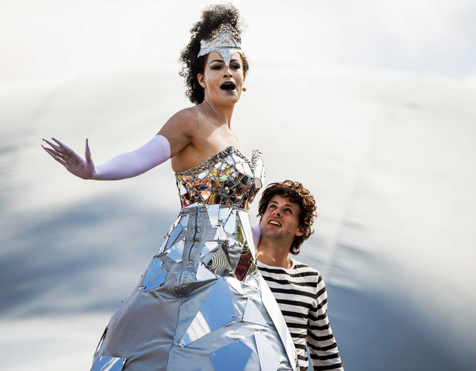 Frisian theatre group Tyater performs a scene from the street opera 'The Ice Queen' during the opening of annual cultural festival Oerol on the northern island of Terschelling.